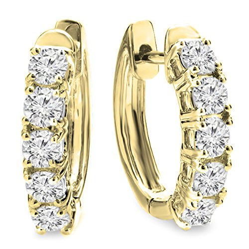 Dazzlingrock Collection 1.00 Carat (ctw) 14K Round White Diamond Ladies Huggies Hoop Earrings 1 CT, Yellow Gold ()