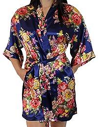Women's Floral Satin Kimono Short Bridesmaid Robe With Pockets - Silky Touch