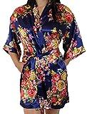 Women's Satin Floral Kimono Short Bridesmaid Robe W/Pockets - Dark Blue M/L