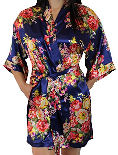 Women's Satin Floral Kimono Short Bridesmaid Robe W/Pockets - Dark Blue M/L
