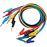 """Yeeco 5PC 4mm Silicone Banana Plug to Crocodile Alligator Clips Set 24A 1m/39.4"""" Test Probe Lead Wire Cable"""
