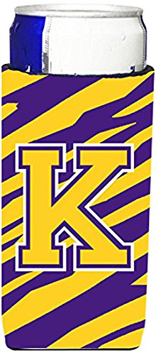 Tiger Stripes Purple Design - Monogram - Tiger Stripe - Purple Gold  Letter K Ultra Beverage Insulators for slim cans CJ1022-KMUK