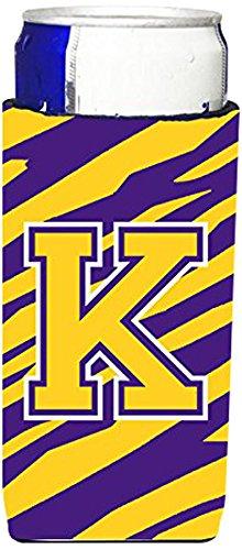 - Monogram - Tiger Stripe - Purple Gold  Letter K Ultra Beverage Insulators for slim cans CJ1022-KMUK