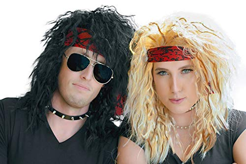 80s Costumes For Couples (80s Rocker Halloween Costumes Wig - 2 Heavy Metal Couples Wigs For Men and)