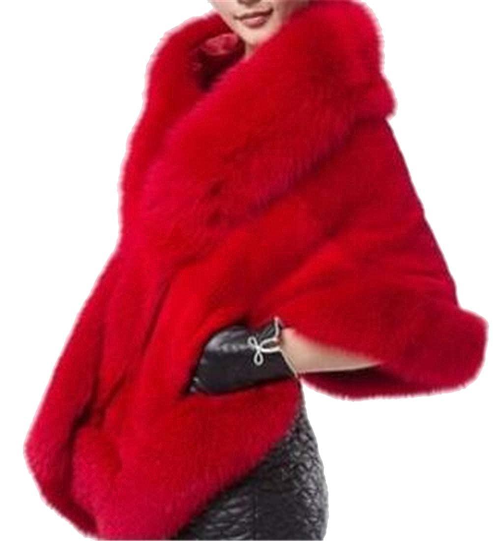 SHOWNO Womens Fluffy Winter Faux Fur Shawl Party Warm Wedding Cloak Cardigan Jacket