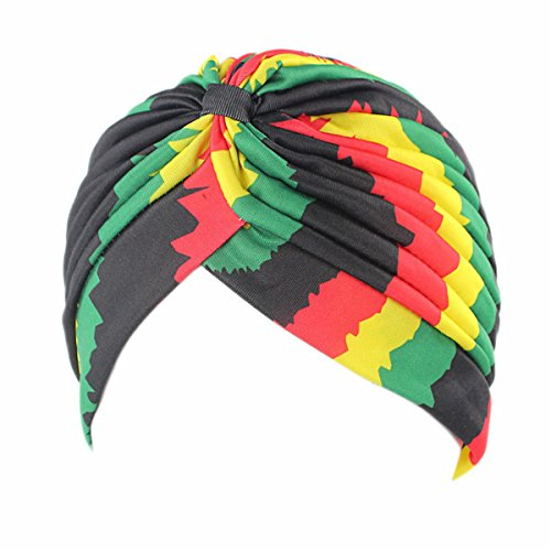 (Qhome Women's new Fashion Rasta Turban Indian Style Head Wrap Cap Hat Hair Cover Headband Various Print Design)