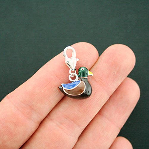 (Pendant Jewelry Making for Bracelets and Chains 2 Duck Charms Silver Plated Enamel Fun and Colorful 3D - E384)