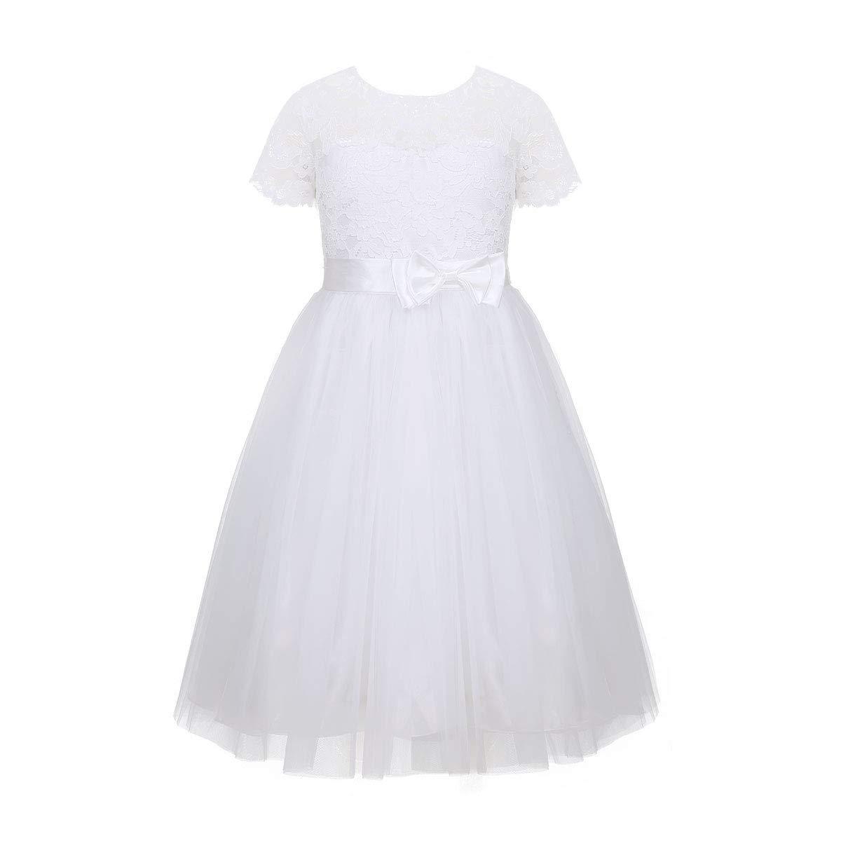 Blanc (Manches Courtes) 6-9 mois MJY Fille De Fleur De Mode Robes De Dentelle Enfants Coeur Retour Communion Baptême De Mariage Demoiselle D'honneur Robe De Fête,Blanc avec ceinture,9-10 ans