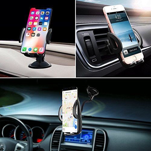 Car Phone Holder 3-in- 1 Car Mount for Windshield, Dashboard, Air Vent – 360° Rotatable Universal Cell Phone Mount for iPhone, Samsung, More – Hands Free Dash Mount Mobile Phone Holder for Car by I&F by I & F (Image #5)