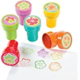 6 ~ Hibiscus Flower Stampers ~ Assorted Colors ~ Self-inking ~ New / Shrink-wrapped