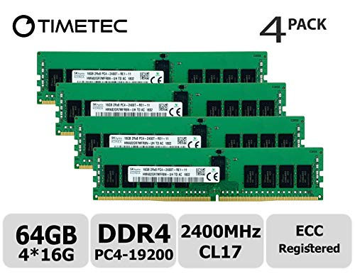 (Timetec Hynix Original (64GB KIT(4x16GB)) DDR4 2400MHz PC4-19200 Registered ECC 1.2V CL17 2Rx8 Dual Rank 288 Pin RDIMM Server Memory RAM Module Upgrade (64GB KIT(4x16GB)))