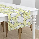 Table Runner - Animal Jungle Zoo Safari Yellow Nursery Stripe by Leanne - Cotton Sateen Table Runner 16 x 108