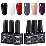 Beauty : Lagunamoon Gel Nail Polish Set 6 Classic Colours Black White Red Gray Dark Purple Nude Gel Polish Soak Off UV LED Manicure Set Requires Drying Under Nail Lamp,8ML Each Bottle