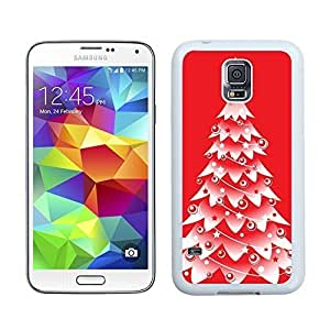 Fashion Style Snow Red Christmas Tree Samsung Galaxy S5 White Silicone Case,Samsung I9600 Phone Case