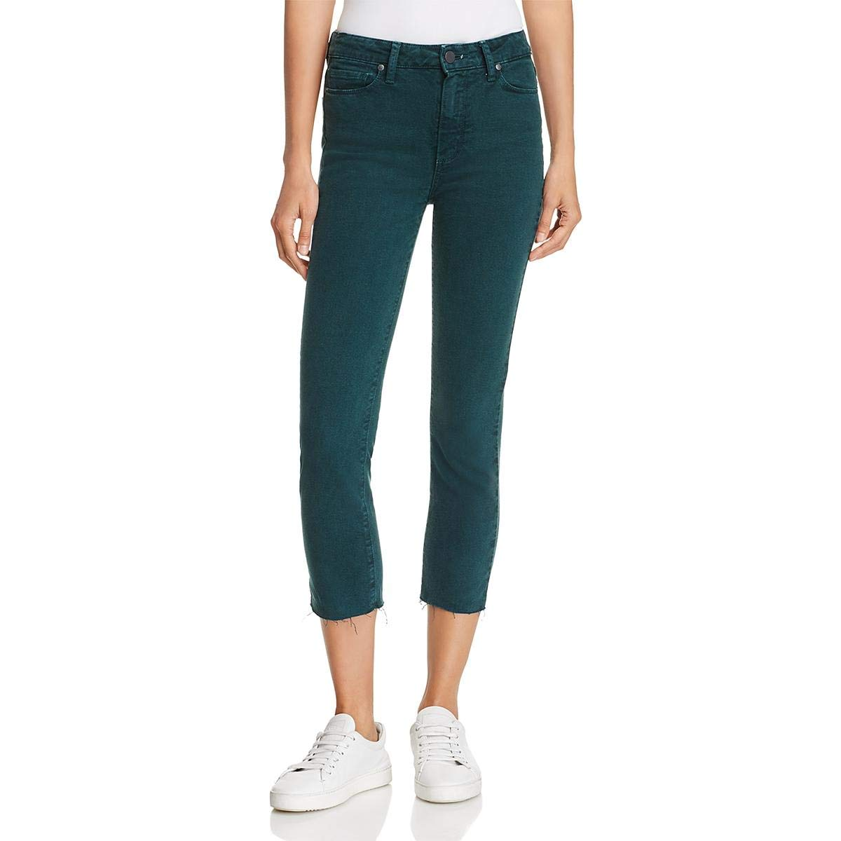 Paige Womens Hoxton Raw Hem colord Cropped Jeans Green 24