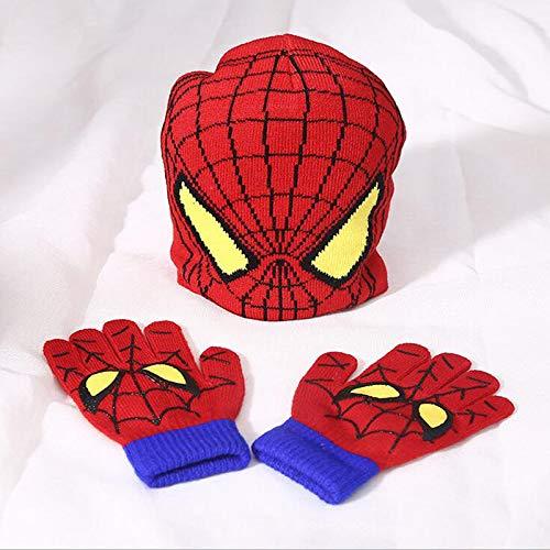 TruePartner Hat Set Cartoon Spider Man Warm Autumn Winter Girls Boys - Hat Set Cartoon Spider Man Warm Cap Knitted Hat Gloves Children Hat Sets Bonnet Gorro (B)