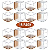 Square Chair Leg Caps for Hardwood Floors WarmHut Chair Leg Floor Protectors, 16pcs Transparent Clear Silicone Table Furniture Leg Feet Tips Covers Caps, Felt Pads, Prevent Scratches, Wood Floor Protector (Square)