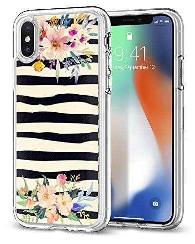 - Zebra Case for iPhone xr,Gifun [Anti-Slide] Clear TPU Premium Flexible Protective Case Cover for iPhone XR 2018 - Vintage Colorwater Flowers and Zebra