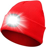Beanie Hat with Light Unisex Winter Knit Lighted Headlight Hats USB Rechargeable Torch Cap Headlamp Gift for M