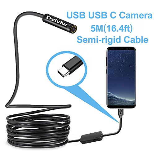 new Dylviw 5 Meter Rigid Cable USB C Endoscope Type C Borescope Inspection Camera 2.0 Megapixels HD Snake Camera for New Android Samsung Galaxy S8, S8 Plus, Google pixel, Nexus 6p, Huawei V9