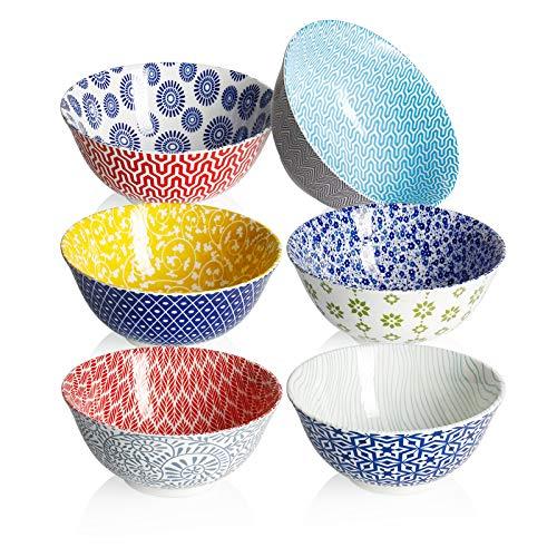 Amazingware Porcelain Bowls – 26 Ounce for Cereal, Soup, Salad and Fruit, Set of 6, Assorted Designs