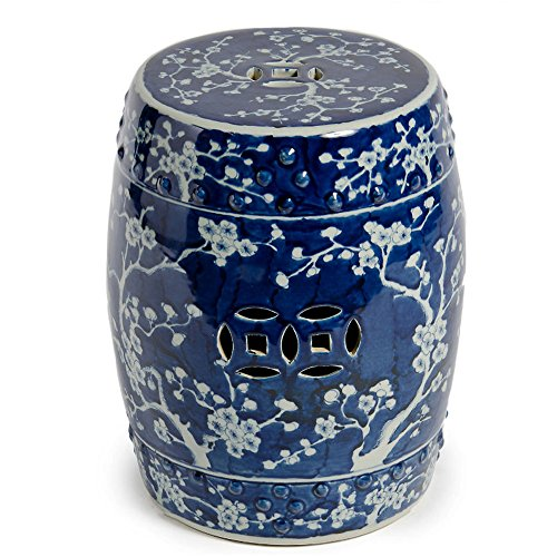 Asian Chinese Blue & White Ceramic Garden Stool Seat with Plum Blossom Decorative Porcelain Ceramic Circle Oriental Furniture (Blue And White Ceramic Stool)