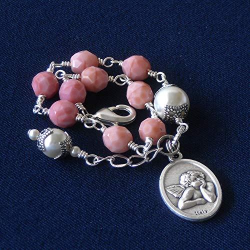 Cherub Bracelet, Angel, Pink, Rose Coral Czech Glass Beads & Swarovski Crystal Based Pearls
