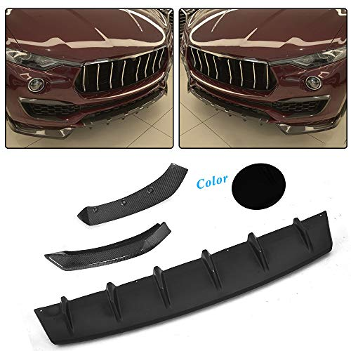 JC SPORTLINE Levante Black Front Lip Splitters, fits Maserati Levante Base S Sport 2016-2018 FRP Add on Style Front Chin Spoiler Lower Lip Scoop Winglet Flap Protector