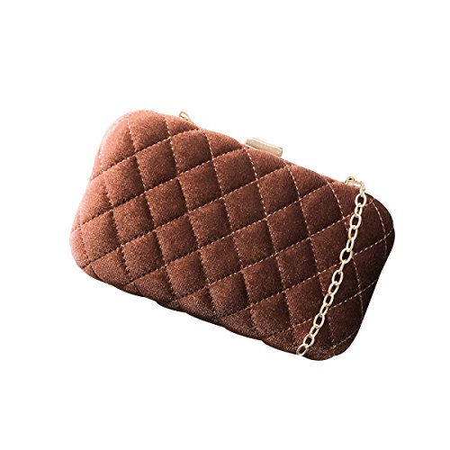 Clutch Luxury Evening Bag Wallet Suede Elegant Women Shell Brown Bag Pxv5X0q