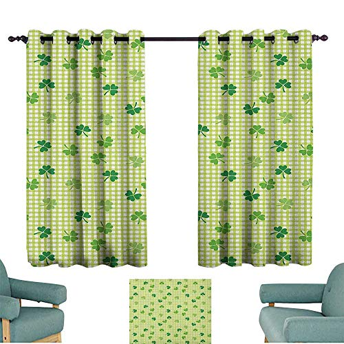 WinfreyDecor Irish Heat Insulation Curtain Retro Classical Checkered Pattern with Cute Green Shamrocks Clovers Garden Plants Privacy Protection 72