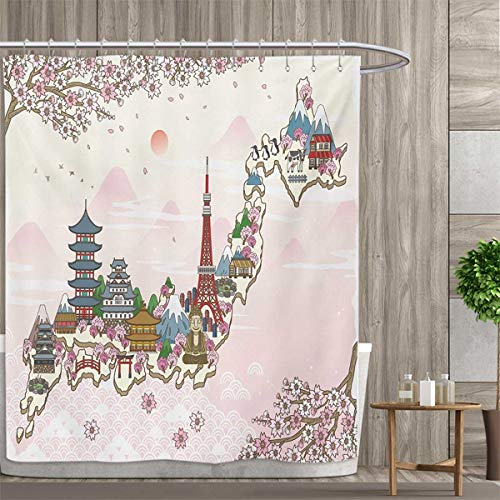 Poster Set Branches - smallfly Japanese Fabric Bathroom Set with Hooks Japan Travel Poster with Sakura Tree Branches Blossoms Asian Journey Destination Shower Curtains with Shower Hooks 108