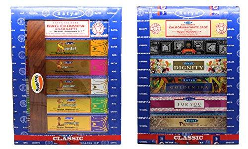 Govinda Set of 12 Nag Champa, Natural-(Sandal, Rose, Jasmine, Patchouli, Lavender), California White Sage, Super Hit, Dignity, Golden Era, for You, Prophesy Incense Holder by Satya