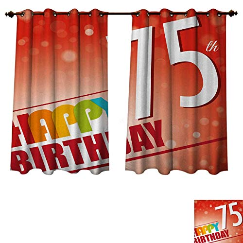 Anzhouqux 75th Birthday Blackout Thermal Backed Curtains for Living Room Old Age Seventy Five Years Old Party Invite in Retro Style Greeting Theme Customized Curtains Multicolor W55 x L39 -