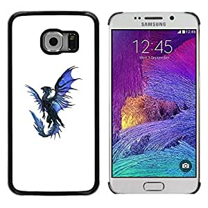 Shell-Star Arte & diseño plástico duro Fundas Cover Cubre Hard Case Cover para Samsung Galaxy S6 EDGE / SM-G925 / SM-G920A / SM-G925T / SM-G925F / SM-G925I ( Dragon Blue Black Flying Mythical Creature )