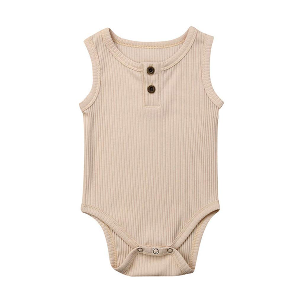 NUWFOR Toddler Baby Kids Girls Boys Sleeveless Solid Romper Sunsuit Bodysuit Cothes(Beige,6-12 Months