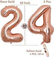 2 Globos Número 24, Number 24 Globo Chica de oro rosa, 40 ...
