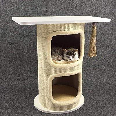 Tablero de juego para gatos, 3 plataformas, árbol para gatos, centro de actividades, mesa de café para gato, juguete, cubo de sisal, cubeta para gato, habitación 60 x 33,5 x 63,5 cm,