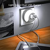 Dual USB Plug-in Wall Plate Quick Charger Dusk-To-Dawn Sensor Night Light Lamp LED Nightlight light sensation Baby Sleep for Apple iPad Android Mobile Phone PSP 5V 2.1A Energy Efficient 1-pack (White)