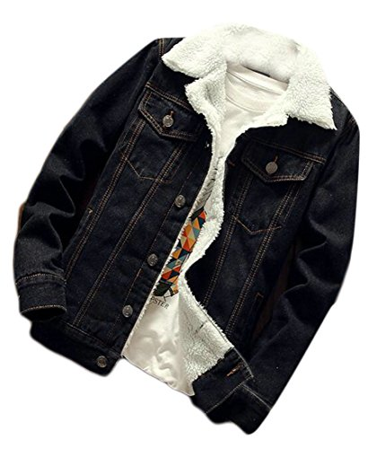 41c83deffd7 WSPLYSPJY Mens Thicken Wool Lamb Lined Button Down Jean Jacket Down Coat  Outwear 1 S
