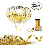 Gold Confetti Balloons with Curling Ribbon Roll & Flower Clips 32 Pack   Premium 12 Inch Latex Party Balloons - Filled - with Round Golden Mylar Foil Dot Confetti   For Birthday, Wedding, Proposal