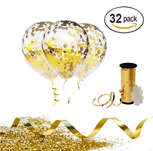 Gold Confetti Balloons with Curling Ribbon Roll & Flower Clips 32 Pack | Premium 12 Inch Latex Party Balloons - Filled - with Round Golden Mylar Foil Dot Confetti | For Birthday, Wedding, (Golden Dots)