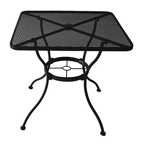 Garden Treasures Heavy-Duty Steel Frame with Black Powder-Coated Finish Square Bistro Restaurant Patio Outdoor Dining Table with Umbrella Hole, 30-in x 30-in (Iron And Chair Wrought Set Table)
