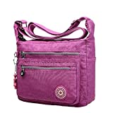 2016 New Fashion Leisure Womens Girls Waterproof Nylon Messenger Bags ShoulderBags (Light Purple)