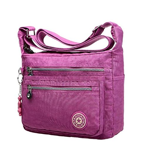 2016 New Fashion Leisure Womens Girls Waterproof Nylon Messenger Bags ShoulderBags (Light Purple)