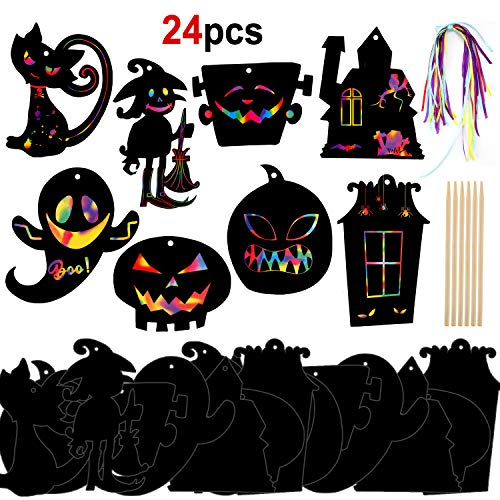 Halloween Bookmark Craft (Konsait Halloween Scratch Art Craft Kits Magic Color Scratch Cutouts Halloween Ornaments Bookmarks DIY Gift Tags for Kids Girls Boys Toys with Wooden Stylus, Ribbon,)
