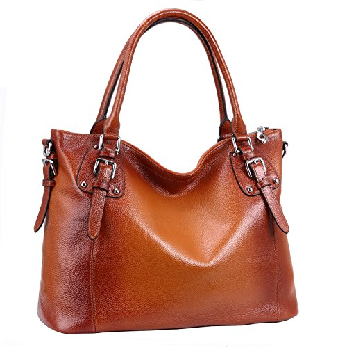 Heshe Womens Leather Vintage Handbags Top Handle Bags Totes Purse Satchels Shoulder Handbag Cross Body Bag for Ladies Large Capacity (SSorrel)