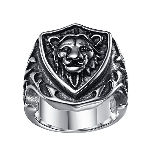 LineAve Men's Stainless Steel Lion Shield Ring, Size 9, 7a5014s09 ()