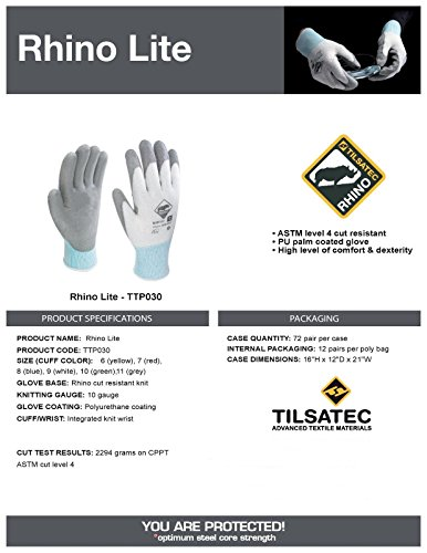 Tilsatec TTP030 Rhino Lite Cut Resistant Gloves, Grey Polyurethane Coated Palm and Fingers, Size: XL, 12 Pair by Rhino Wipe (Image #1)