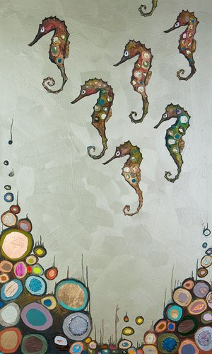 GreenBox-Art-Culture-Canvas-Wall-Art-Seahorses-on-Celery-Green-by-Eli-Halpin-24-by-40-Inch