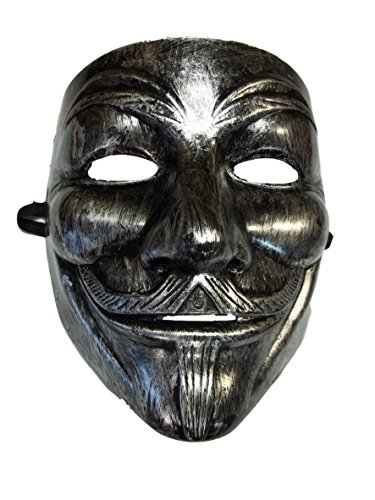 MGPS Brushed Silver Guy Fawkes Anonymous V for Vendetta Halloween Costume Mask